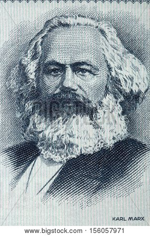 Karl Marx portrait from old German money