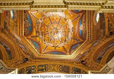 LORETO ITALY - OCTOBER 6 2012: The painted cupola of Basilica of Santa Casa the famous Shrine of the Holy House of Virgin Mary on October 6 in Loreto.
