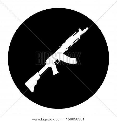 Terrorist Icon Small Arms Black Icon Vector