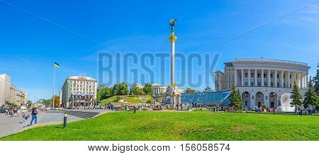 KIEV UKRAINE - SEPTEMBER 8 2016: Panorama of Maidan Nezalezhnosti (Independence Square) with Independence Column Globe shopping center and Tchaikovsky National Music Academy from Khreshchatyk Avenue on September 8 in Kiev.
