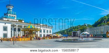 KIEV UKRAINE - SEPTEMBER 8 2016: The fountain in front of River Port in Postal (Poshtova) Square in Podol district on September 8 in Kiev.