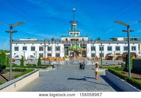 KIEV UKRAINE - SEPTEMBER 8 2016: The facade of the River Port and Amusement park in Postal (Poshtova) Square located at the bank of Dnieper River on September 8 in Kiev.