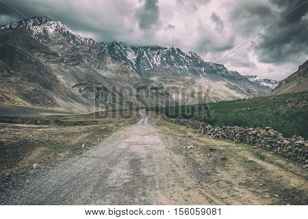 the road in himalayas mountain, toned like instagram filter