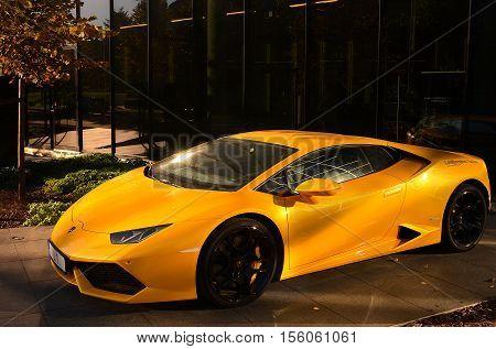 Tallinn ESTONIA - September 6 2016. New Lamborghini Huracan LP 610-4 449kw 7-s. Lamborghini is an Italian brand and manufacturer of luxury sports cars.