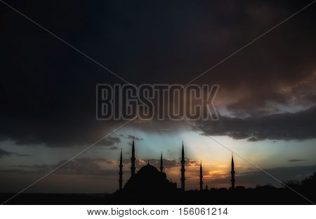 Dramatic view on Sultan Ahmet Mosque before the thunderstorm