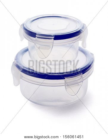 Round Plastic Storage Containers on White Background