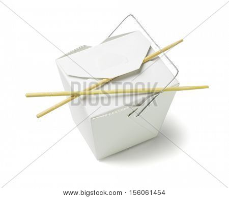 Chinese Restaurant Takeaway Food Container with Chopsticks on White Background