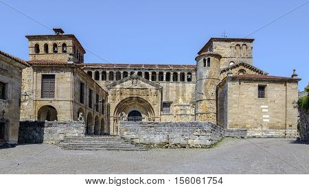 Collegiate church Colegiata of Santa Juliana romanesque style in the touristic village of Santillana del Mar province Santander Cantabria Spain