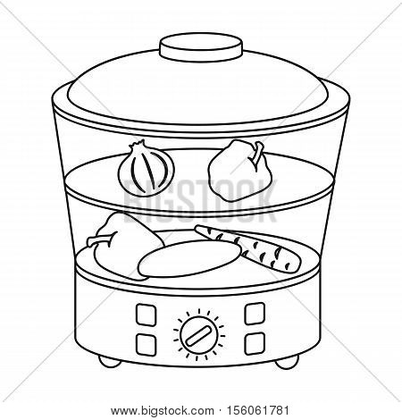Food steamer icon in outline style isolated on white background. Household appliance symbol vector illustration.