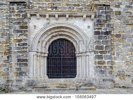 Door of the church of San Vicente de la Barquera Cantabria Spain