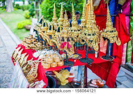 Detail of Thai temple in Bangkok Thailand