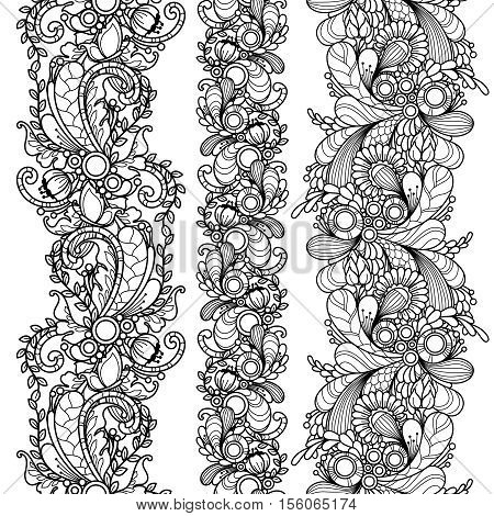 Vector set seamless pattern borders in doodle style. Floral, nature, ornate, decorative, tribal, abstract pattern. Black and white monochrome background. Zentangle hand drawn coloring book page