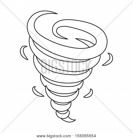 Tornado icon in outline style isolated on white background. Weather symbol vector illustration.