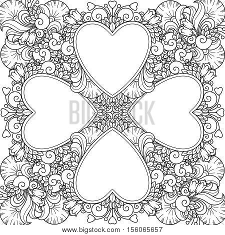 Decorative love composition with hearts, flowers, ornate elements in doodle style. Floral, ornate, decorative, tribal design elements. Black and white background. Zentangle coloring book page