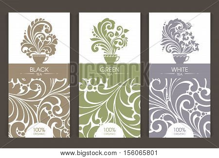 Vector set of templates packaging tea, label, banner, poster, identity, branding. Ornate color pattern background with cup hot tea steam aroma icon. Stylish design for black, white and green tea