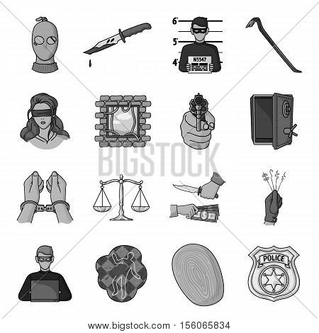 Crime set icons in monochrome style. Big collection of crime vector symbol stock