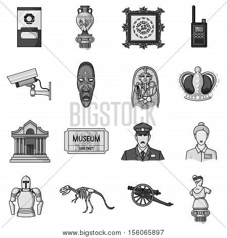 Museum set icons in monochrome style. Big collection of museum vector symbol stock