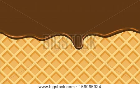 Seamless Flowing chocolate on wafer texture sweet food vector background abstract. Melt choco on waffle pattern. Flat color style design. No gradient