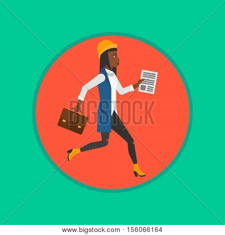 An african business woman running with briefcase and document in hands. Business woman in a hurry. Concept of stress in business. Vector flat design illustration in the circle isolated on background.