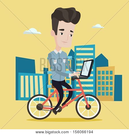 Man riding a bicycle to work. Cyclist riding bike in the city. Businessman with laptop on a bike. Businessman working on laptop while riding a bicycle. Vector flat design illustration. Square layout