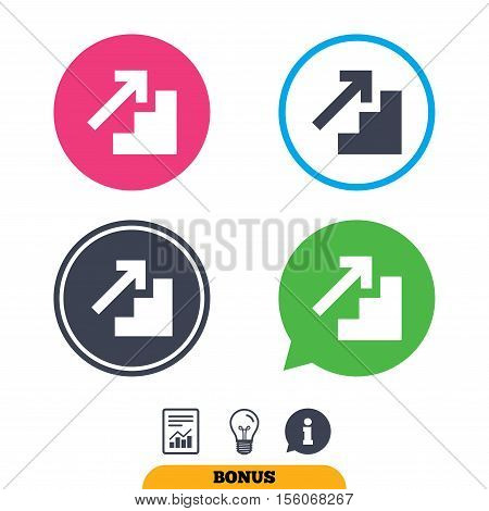Upstairs icon. Up arrow sign. Report document, information sign and light bulb icons. Vector