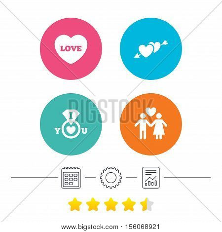 Valentine day love icons. I love you ring symbol. Couple lovers sign. Calendar, cogwheel and report linear icons. Star vote ranking. Vector