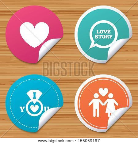 Round stickers or website banners. Valentine day love icons. I love you ring symbol. Couple lovers sign. Love story speech bubble. Circle badges with bended corner. Vector