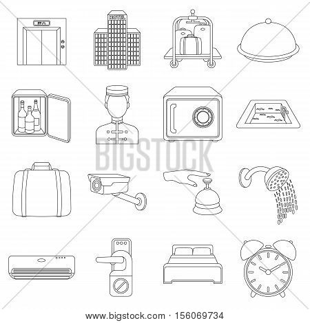 Hotel set icons in outline style. Big collection of hotel vector symbol stock