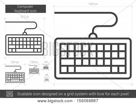 Computer keyboard vector line icon isolated on white background. Computer keyboard line icon for infographic, website or app. Scalable icon designed on a grid system.
