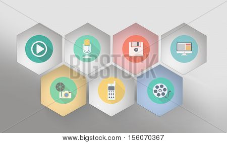 3d icons background Designed for you Six-sided shapes and icons illustration