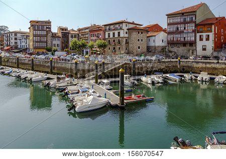 Llanes Spain- August 24 2016: Pleasure boats in port in the Llanes Asturias Spain.