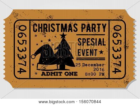Old paper ticket, admit one for Christmas Party