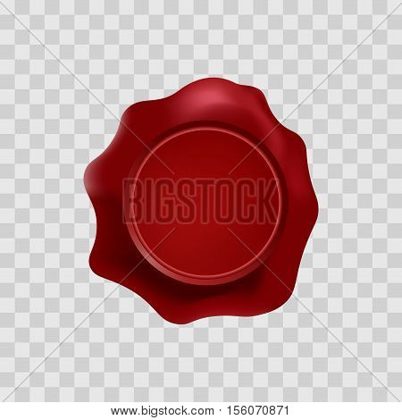 red wax stamp with blank space for text on the transparent background. Vector isolated mockup. Top view