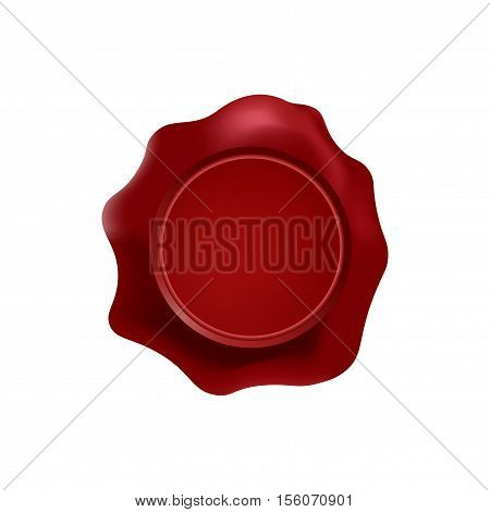 red wax stamp with blank space for text on the white background. Vector isolated mockup. Top view.
