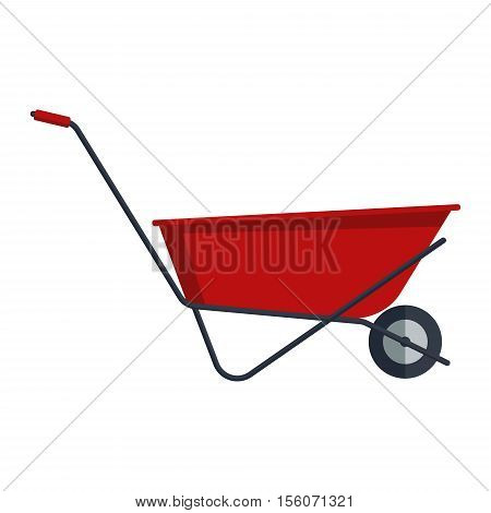 Red flat gardening wheelbarrow isolated on white background. Tool constraction farming wheel icon equipment