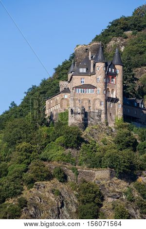 Ancient castle Katz Germany Rhineland-Palatinate Rhine River Valley - UNESCO World Heritage exterior close-up on blue sky background