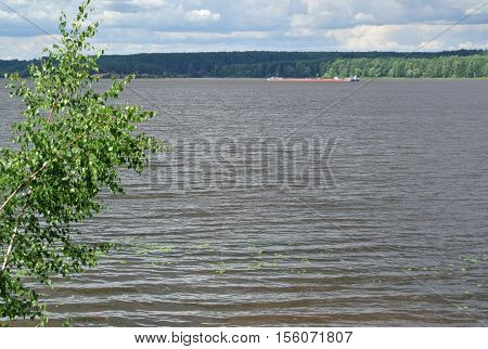 Volga River near the town of Kineshma, Ivanovo region. Vastness. Clouds. Volga. Russian landscape.