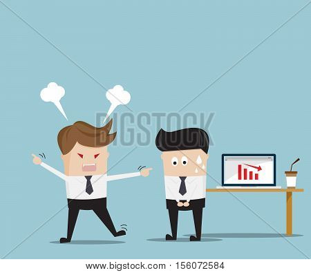 Boss Angry Employee Business Concept Cartoon Vector Illustration