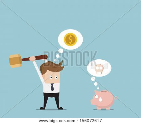 Businessman Destroy Piggy Bank by Big Hammer for Money Cartoon Vector Illustration