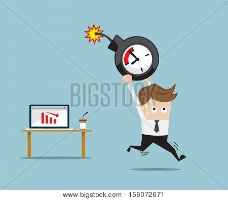 Businessman Running with Time Bomb From Red Down Graph on Laptop Business Concept Vector Illustration