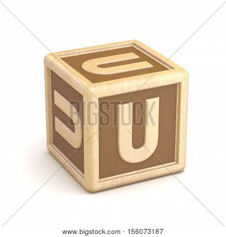 Letter U Wooden Alphabet Blocks Font Rotated. 3D