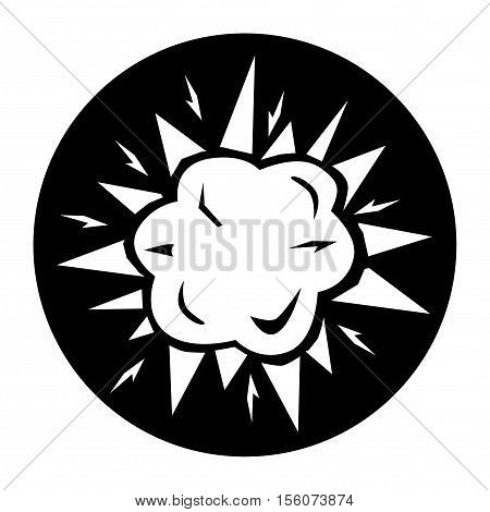 Terrorist IED Explosion Black Icon Vector Button