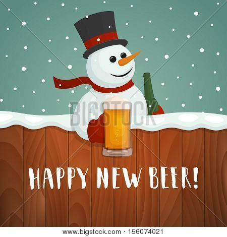 Snowman with beer. Happy new beer logo. Vector christmas card with cartoon snowman holding a mug and hand drawn lettering.