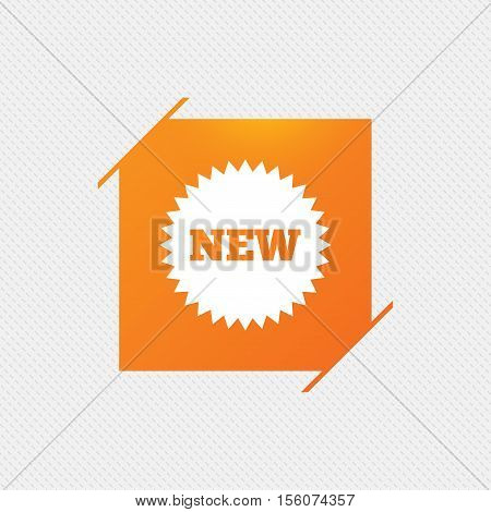 New sign icon. New arrival star symbol. Orange square label on pattern. Vector