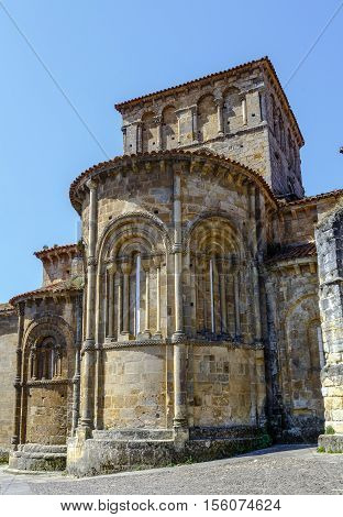 Collegiate church Colegiata of Santa Juliana romanesque style in the touristic village of Santillana del Mar province Santander Cantabria Spain