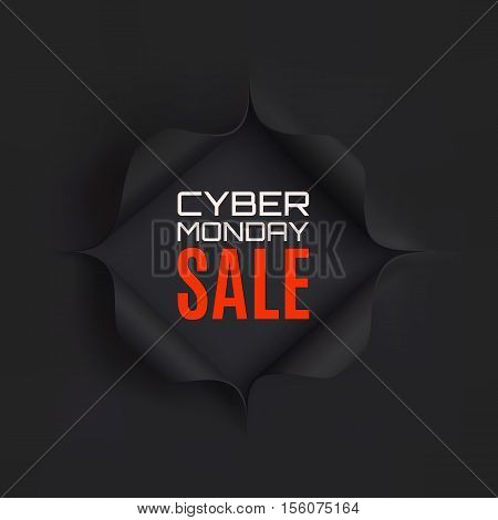 Cyber Monday sale. Hole in black paper. Vector illustration.