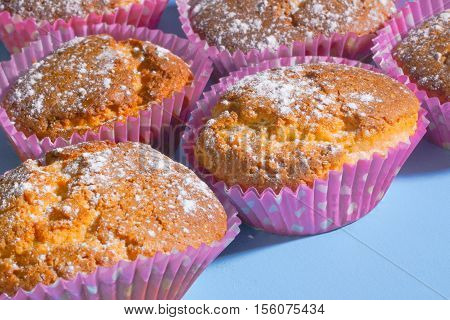 Many of muffins or cupcakes on the blue table