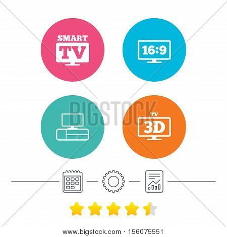 Smart TV mode icon. Aspect ratio 16:9 widescreen symbol. 3D Television and TV table signs. Calendar, cogwheel and report linear icons. Star vote ranking. Vector