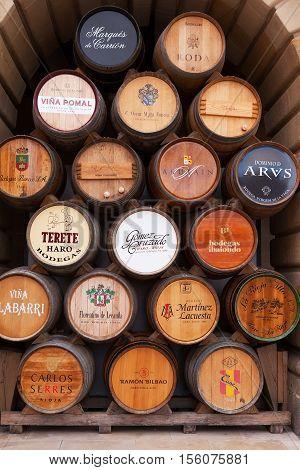 HARO, SPAIN - SEP 15, 2016: Wine Barrels are  displayed in the main square as part of the annual Cata del Barrio de la Estacion.