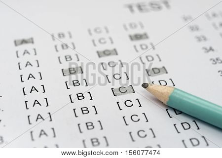 test score sheet partly filled by pencil